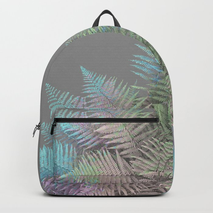 Rainbow Fern on Grey #decor #buyart #foliage Backpack