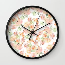 Elegant coral pink hand painted watercolor floral Wall Clock