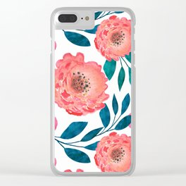 Pink, orange flowers. Clear iPhone Case