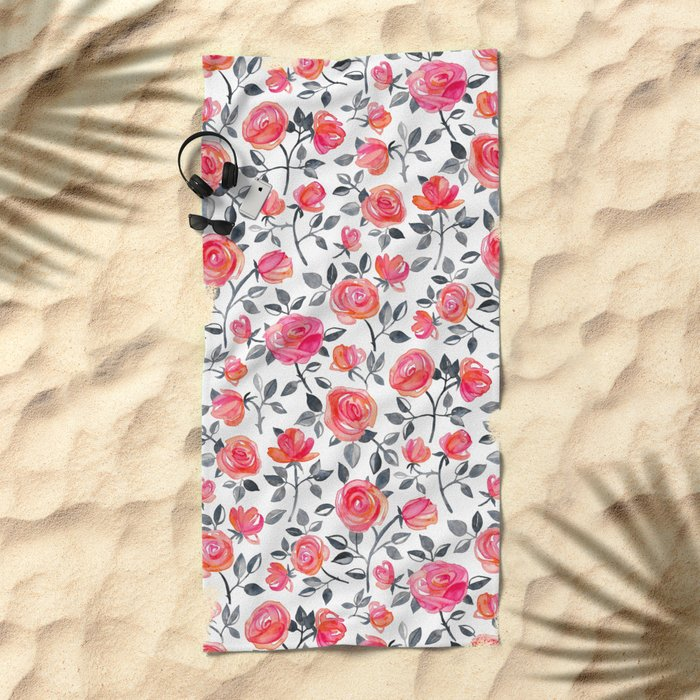 Roses on White - a watercolor floral pattern Beach Towel
