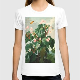 Pink Floral The Oblique-Leaved Begonias : Temple of Flora T-shirt