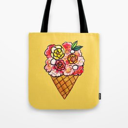 Watercolor - Strawberry Yogurt Ice Cream Cone Tote Bag