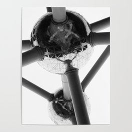 Atomium Brussel   Abstract Travel Photography   Black and White Minimalistic Art Print Poster