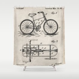 Bike Patent - Bicycle Art - Antique Shower Curtain