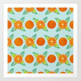 Watercolor Oranges Pattern in Blue Art Print