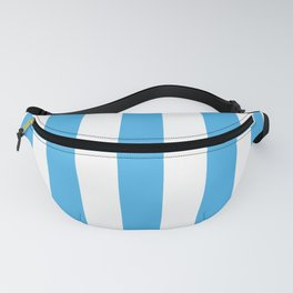 Picton blue - solid color - white vertical lines pattern Fanny Pack