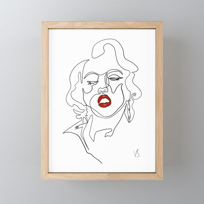 Femme Fatale - one continuous line ink abstract drawing. Framed Mini Art Print