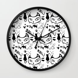 meow meow meow black Wall Clock