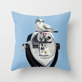Seagull on Binoculars by the Ocean Illustrated Print Throw Pillow