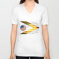 american V-neck T-shirts featuring American by ilustrarte
