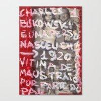 bukowski Canvas Prints featuring Bukowski by Ibbanez