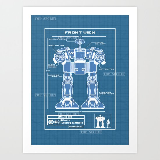 Wall-ED-209 Blue Print Art Print