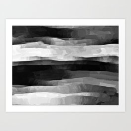Glowing Smoky Abstract - Black and White Art Print
