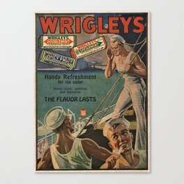 Vintage 1918 Wrigley's Chewing Gum Advertisement with sailors Canvas Print