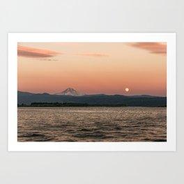 Mt. Hood Moonrise at Sunset Art Print