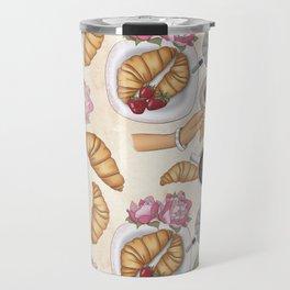 Good Morning Strawberries, Croissants And Coffee Pattern Travel Mug