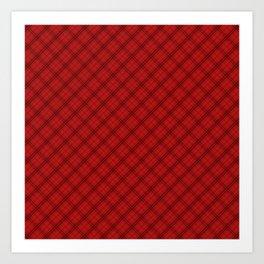 Blood Red and Black Halloween Tartan Check Plaid Art Print