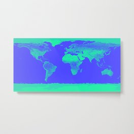 World Map Periwinkle Blue Mint Metal Print