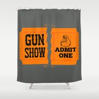 anchorman Shower Curtains featuring Ticket to the Gun Show by Morkki