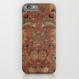 Flowery Boho Rug IV // 17th Century Distressed Colorful Red Navy Blue Burlap Tan Ornate Accent Patte iPhone Case