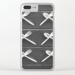 plastic forks and plastic spoons in black and white Clear iPhone Case