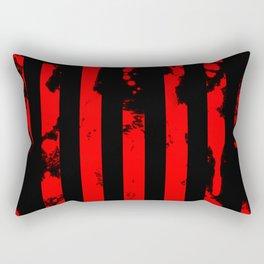 Blood Bars - Geometric, black and red stripes pattern, blood red, paint splat artwork Rectangular Pillow