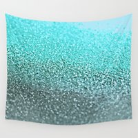teal Wall Tapestries featuring TEAL  by Monika Strigel