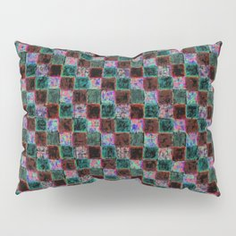 Maroon Green Multicolored Patchwork Pillow Sham