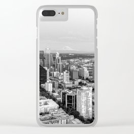 Seattle Skyline Harbor at sunset - black and white Clear iPhone Case