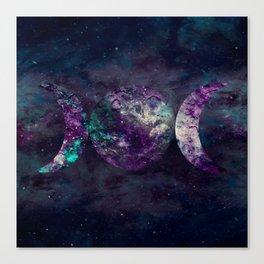 Triple Moon Goddess Universe Canvas Print