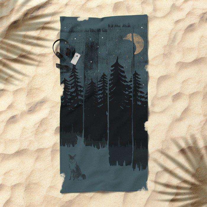 A Fox in the Wild Night... Beach Towel