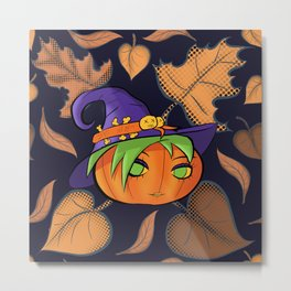 Autumn Leaves Cute Pumpkin Witch Metal Print