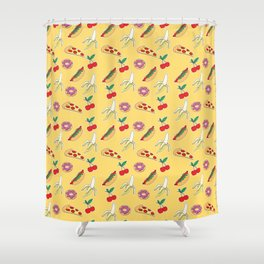 Modern yellow red fruit pizza sweet donuts food pattern Shower Curtain