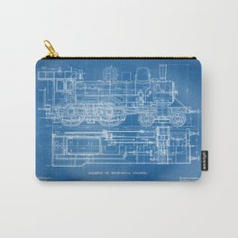 Steam Train Diagram - Blueprint Style Carry-All Pouch