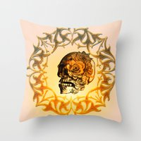 sugar skull Throw Pillows featuring Sugar skull by nicky2342