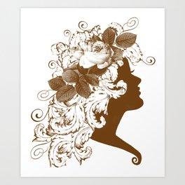 Acanthus Leaf w Rose Lady  Art Print