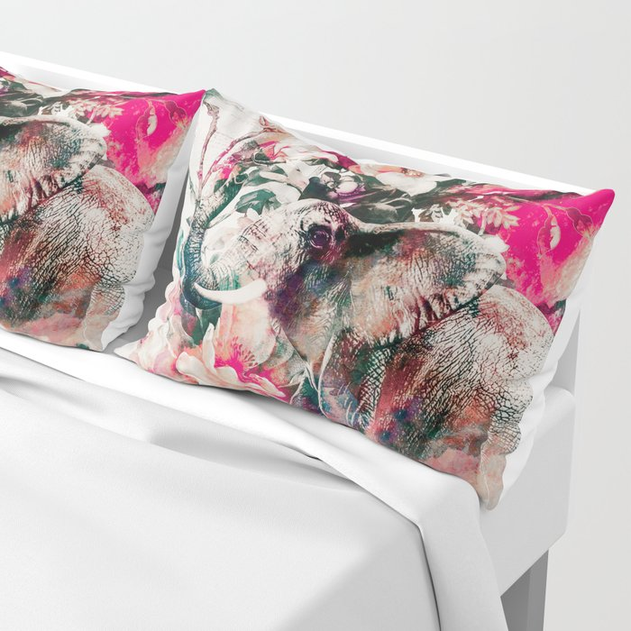 Watercolor Elephant and Flowers Pillow Sham