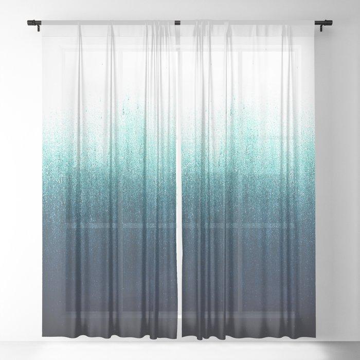Teal Ombré Sheer Curtain
