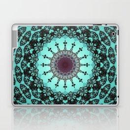 Bright Teal Black Bohemian Mandala Laptop & iPad Skin