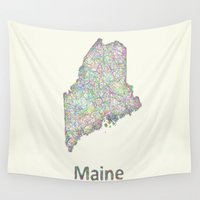 maine Wall Tapestries featuring Maine map by David Zydd
