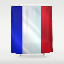 French Grunge Flag Gloss Shower Curtain