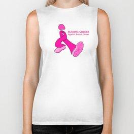 Cancer walk ribbon with shoe tread Biker Tank