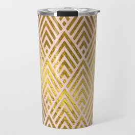 Gold foil triangles on pink - Elegant and luxury triangle pattern Travel Mug