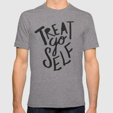 Treat Yo Self MEDIUM Tri-Grey Mens Fitted Tee