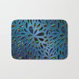 Crystal Drops In Blue Metallic Background Bath Mat