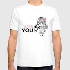 I Hate You / Gun SMALL Mens Fitted Tee White