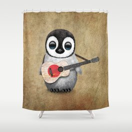 Baby Penguin Playing Japanese Flag Acoustic Guitar Shower Curtain