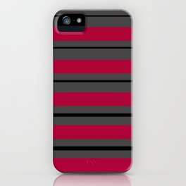Red grey stripes iPhone Case