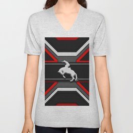 Black and Red Rodeo Cowboy Sports Design Unisex V-Neck