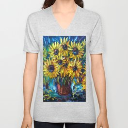 SUNFLOWERS in a Vase — Palette knife painting by OLena Art Unisex V-Neck